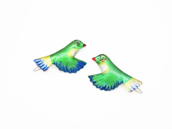 1980/'s vintage HUMMINGBIRD barrette hair clip PAIR new-old-stock wire clasp hand-painted pinkteal acrylic birds bird barrettes