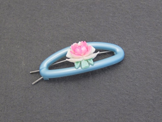 Pink//Blue 1950/'s Set of 4 rose barrettes Vintage Hair Barrettes