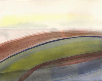 Watercolor landscape painting, abstract watercolor, original watercolor, contemporary art, minimalist art, urban landscape, green painting