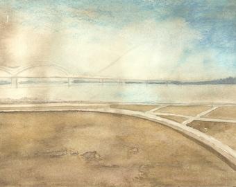 Watercolor landscape painting, abstract watercolor, original watercolor art, contemporary art, minimalist art, urban landscape, river art