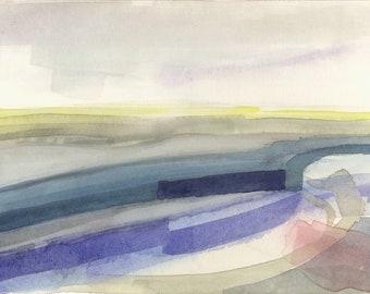Watercolor landscape painting, abstract watercolor, original watercolor, contemporary art, minimalist art, urban landscape, blue painting