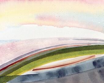 Watercolor landscape painting, abstract watercolor, original art, contemporary art, minimalist art, urban landscape, pink art