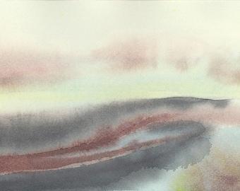 Watercolor landscape painting, abstract watercolor, original watercolor, contemporary art, minimalist art, urban landscape, gray painting