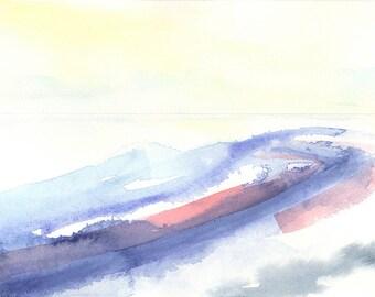 Watercolor landscape painting, abstract watercolor, original art, contemporary art, minimalist art, urban landscape, blue painting