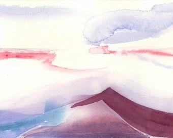 Watercolor landscape painting, abstract watercolor, original watercolor, contemporary art, minimalist art, urban landscape, violet painting
