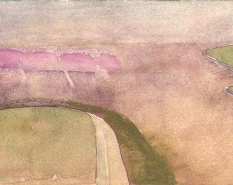 Watercolor landscape painting, abstract watercolor, original watercolor art, contemporary art, minimalist art, urban landscape, urban art