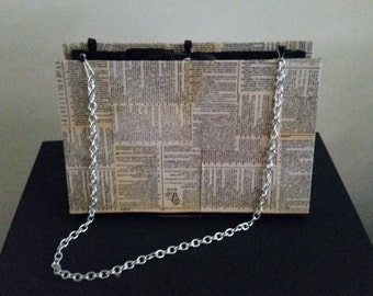 Unique book purse with dictionary pages on the outside!