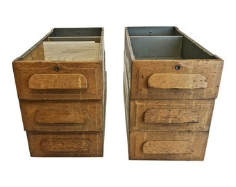 6 Vintage WOOD DRAWER LOT Desk Storage Set Industrial Parts Bin Tray  Antique Shabby Mission Chic Box Sliding Oak Machine Brackets Carved