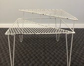 Vintage Metal Corner Table white wire mesh patio porch outdoor mid century modern 2 tier tiered plant stand mcm
