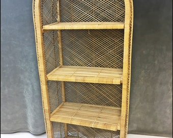 Vintage WICKER BOOKSHELF Mid Century Wall Unit Bookcase Shelf Boho Chic Rattan Shelving Dome Top 60s Display Brown 18753