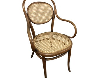 Vintage THONET BISTRO CHAIR Bentwood Arm Vintage Brown Antique Cane Bottom  Caning Ice Cream Parlor Side Accent Living Room