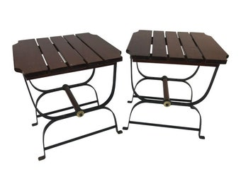 f56a24108cbc Mid Century Modern WOOD SIDE TABLES Goshen iron patio pair end outdoor 50s  60s vintage mcm living room furniture nightstand set 2