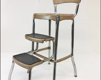 vintage 60s furniture. Vintage COSCO STEP STOOL Brown Metal Industrial Steampunk Folding Steel  Chair Mid Century Modern 50s 60s Shabby Country Chic Kitchen Rustic Vintage Furniture