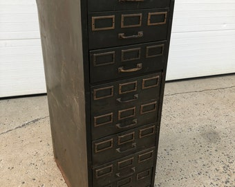 Vintage Industrial FILE CABINET Steelmaster od green filing drawer parts storage 50s 60s man cave garage decor rustic metal heavy duty brass : vintage metal file cabinets - Cheerinfomania.Com