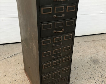 Vintage Industrial FILE CABINET Steelmaster od green filing drawer parts storage 50s 60s man cave garage decor rustic metal heavy duty brass & Filing cabinets | Etsy