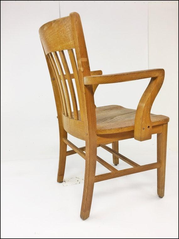 Cool Vintage Wood Office Chair Banker Desk Courthouse Gunlocke Lawyer Antique Arm Mission Oak Wooden Slat Slatback Living Room High Point Lamtechconsult Wood Chair Design Ideas Lamtechconsultcom
