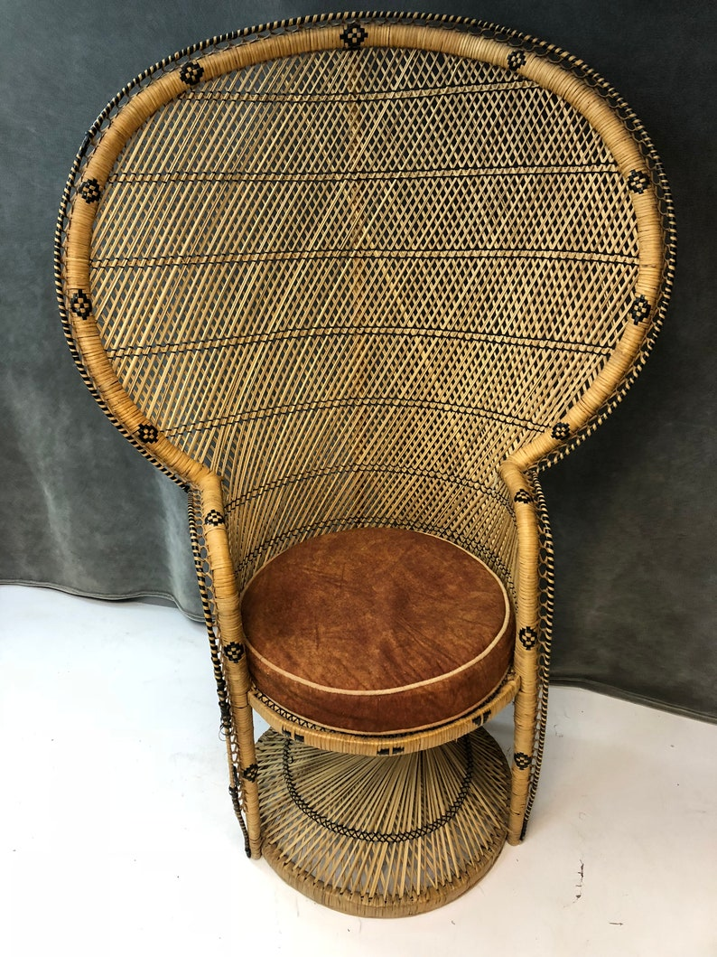 Fine Vintage Peacock Chair Wicker High Back Fan Rattan Mid Century 50S Tiki Patio Porch Living Room Base Mcm Mod Bohemian Boho Chic 19014 Gmtry Best Dining Table And Chair Ideas Images Gmtryco