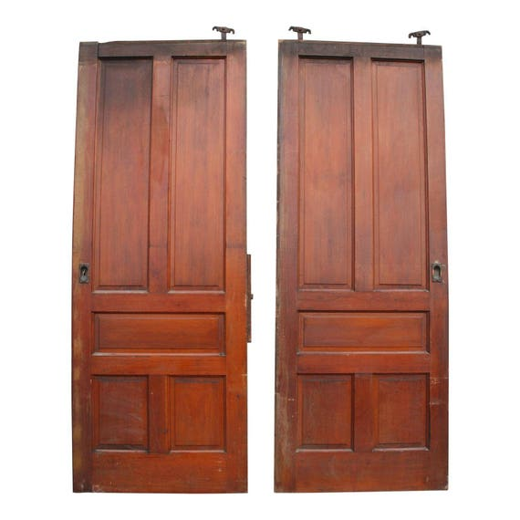 Completely new 2 Vintage LARGE FRENCH DOORS wood antique pair roller huge  OW78