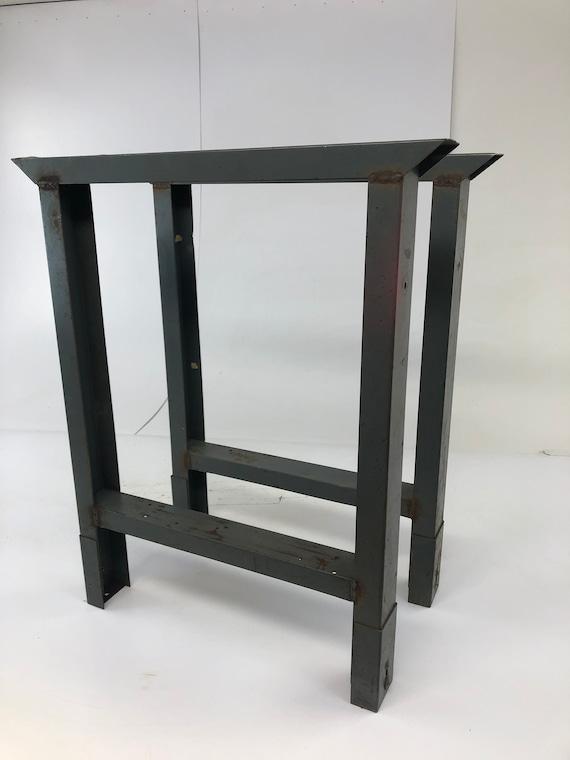 Astounding Vintage Industrial Table Legs Metal Work Bench Ends Gray Base Factory Steel Pair Farm Kitchen Island Loft Adjustable Workshop 2 Evergreenethics Interior Chair Design Evergreenethicsorg