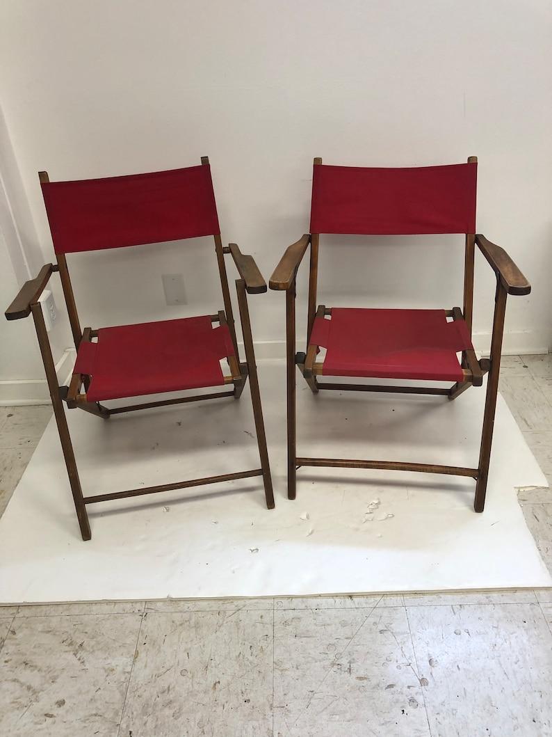 2 Vintage Wooden Folding Chair Set Lot Mid Century Modern Beach Patio Wedding Red Bistro Wood 50s 60s Country Porch Pair Garden