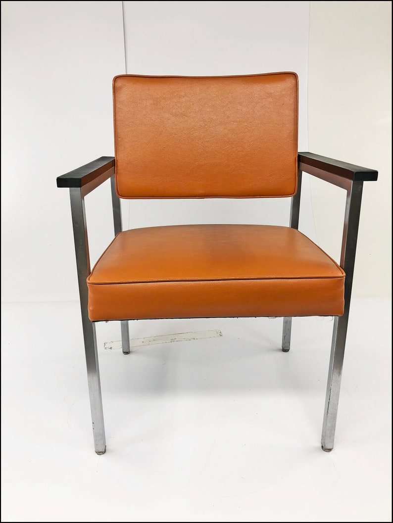 Mid Century Modern OFFICE CHAIR desk orange tanker vintage arm industrial  retro 60s 70s vinyl chrome cloth steel metal