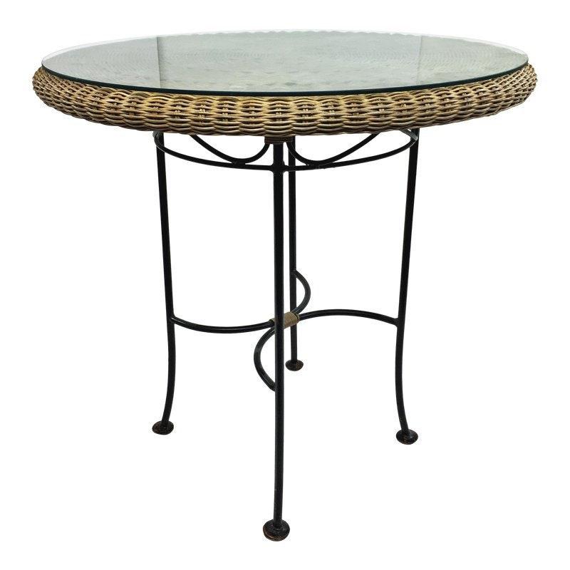 05c9ceed54f5 Vintage ROUND WICKER TABLE mid century modern iron boho chic