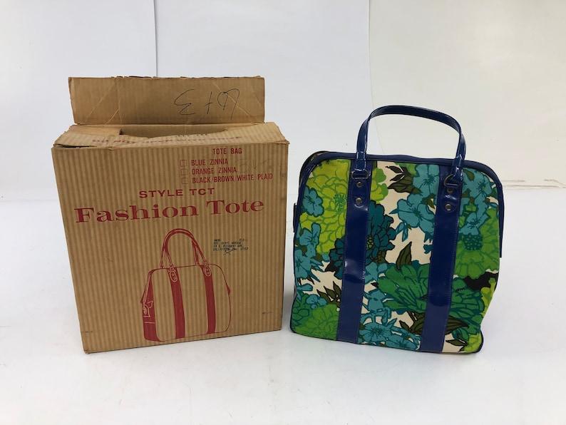 Vintage Flower Power HAND BAG w Original Box funk disco 70s 80s purse  hippie mod boho 60s vinyl handle blue green