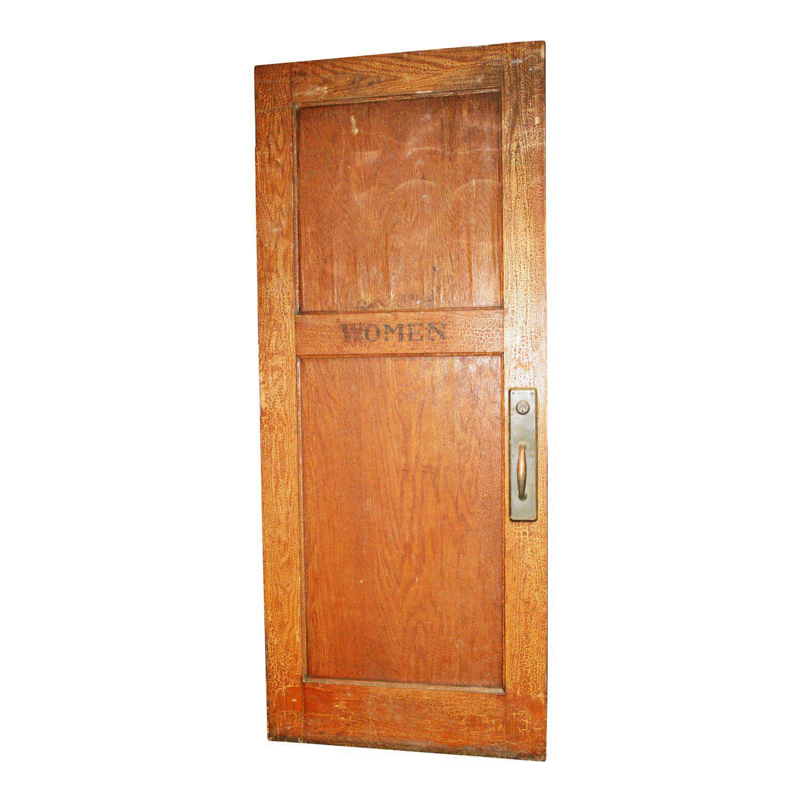 Vintage WOOD DOOR Women\'s Restroom wooden bathroom architectural ...