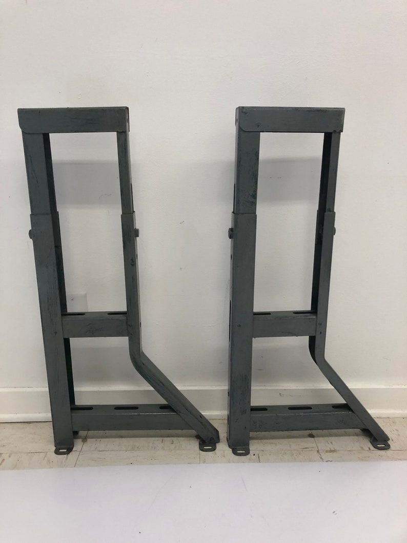 Vintage Industrial Table Legs Metal Work Bench Ends Gray Base Factory Steel Pair Farm Kitchen Island Loft Adjustable Workshop