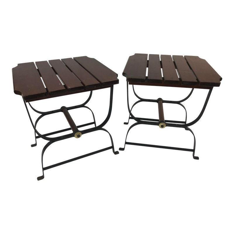 a64dda00dc92 Mid Century Modern WOOD SIDE TABLES Goshen iron patio pair end