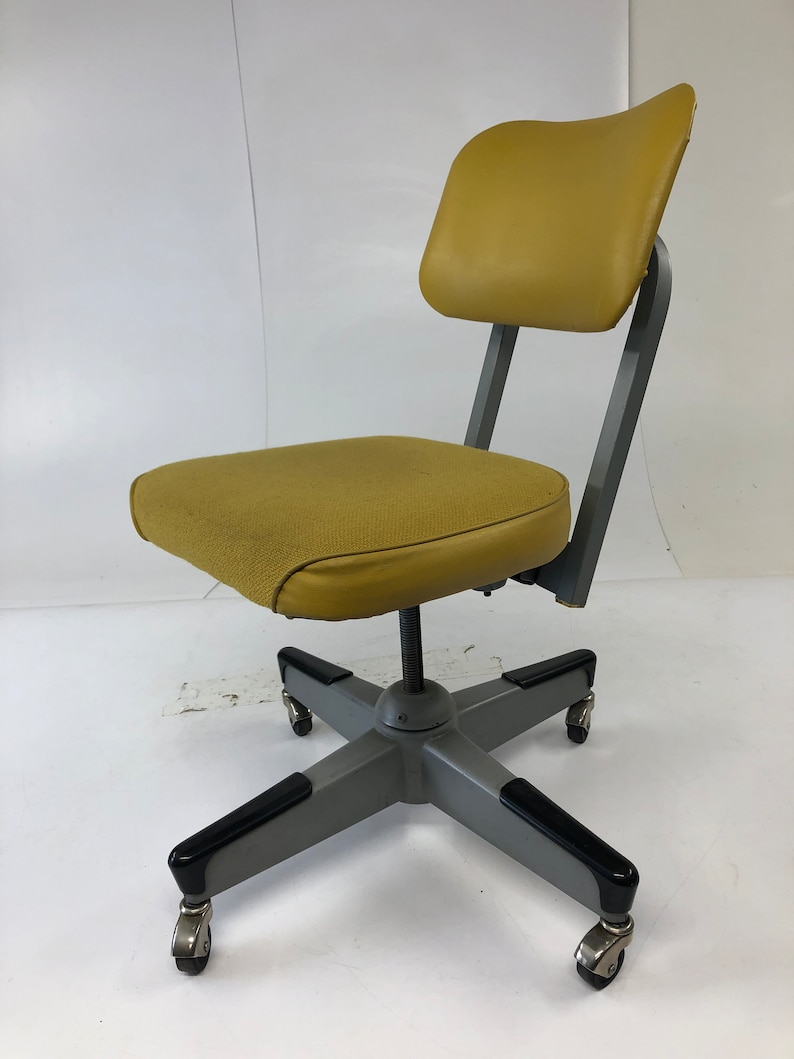 Vintage Industrial Chair Desk Office Swivel Tanker Mid Century Modern Retro Yellow 50s 60s Steel United Vinyl Cloth