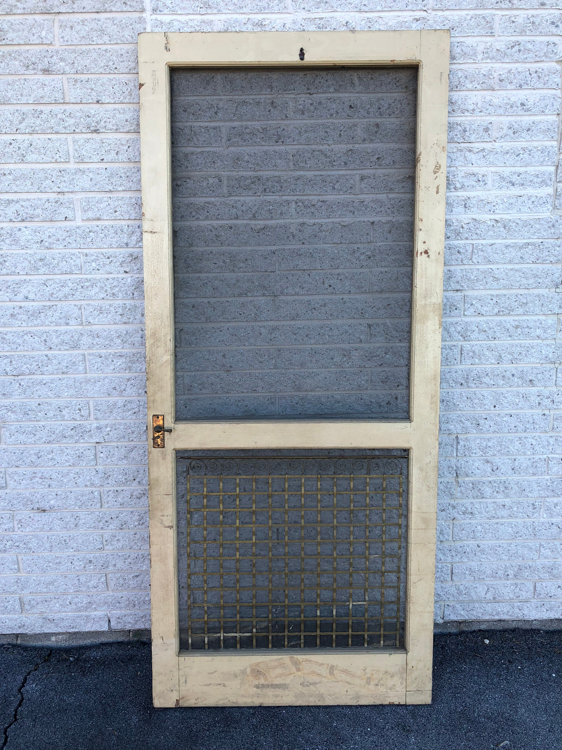 Vintage Wood Screen Door Wooden Beige Country Rustic Etsy
