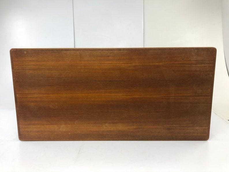 Mid Century Modern TEAK COFFEE TABLE vintage surfboard eames era wood wooden solid signed danish 50s 60s Vejle Stole Denmark