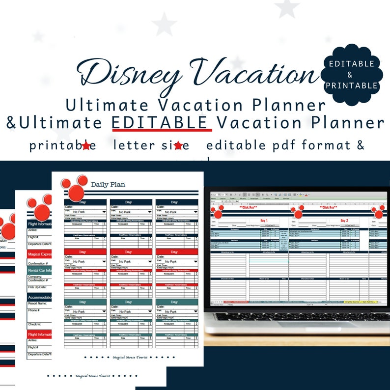 Disney World Editable Excel Planner and Editable PDF in Blue