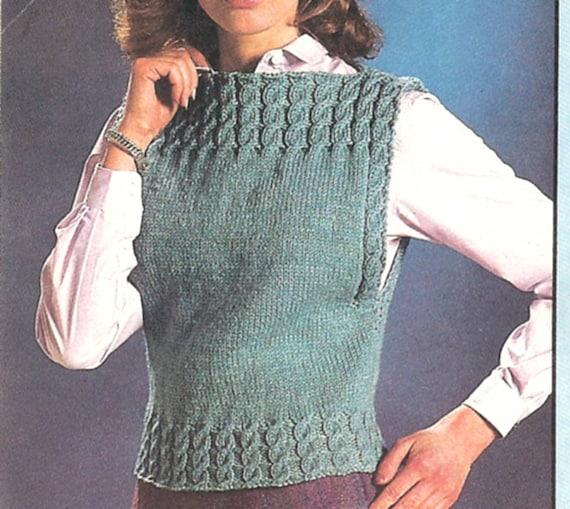 Boat Neck Cable Vest Knitting Pattern PDF Pattern Download ...
