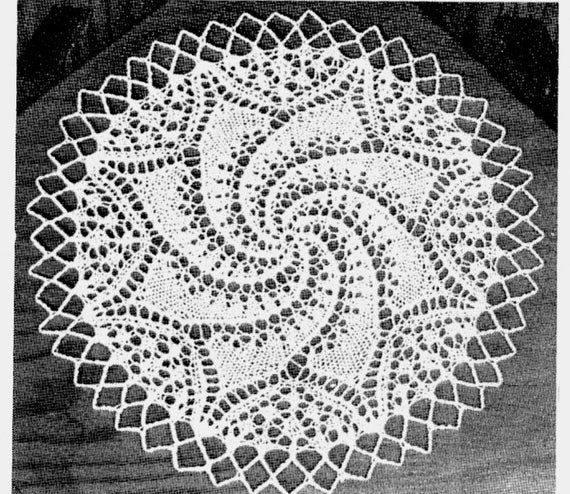 Knitting Pattern For Round Lace Pinwheel Doily Pdf Instant Etsy