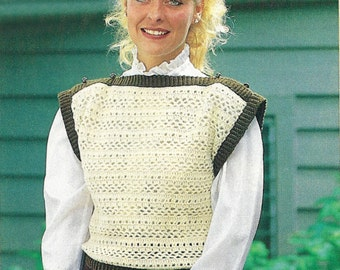 Crochet Vest Pattern - PDF Pattern Download - Sleevless Pullover Lacy Patterned Crocheted Vest with Boat Neck and Contrasting Trim