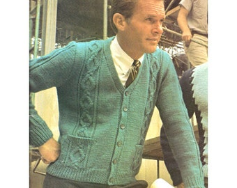 Knitting Pattern for Men's Cardigan Sweater with Diamond Pattern - PDF Pattern Download - With V Neck, Long Sleeves, and Pockets