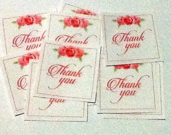 12 Pink with Pink Flowers Thank You Tags