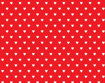White Hearts on Red Background Instant Download