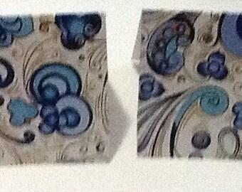 9 Blue Swirl Mini Note Cards