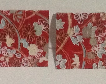 9 Red Background with Red and Blue Floral Mini Note Cards