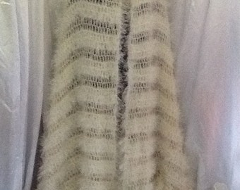 Bridal or evening stole,scarf,handcrochet wool
