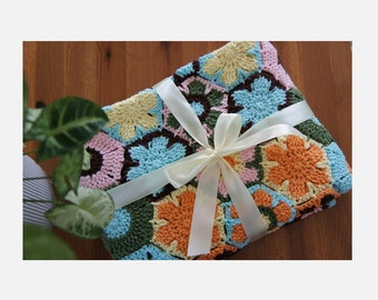 Crochet Blanket   Crocheted Throw   Handmade Blanket   Crochet Afghan   Baby Blanket   Personalize Gift  Spring Flower under the Sunshine