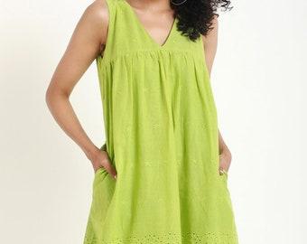 Neon Green Chikankari Dress