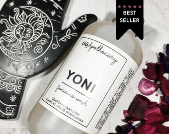 YONI • herbal feminine wash with sweet almond oil, shea and a blend of organic hydrosols and teas • mild all natural soap unscented balanced
