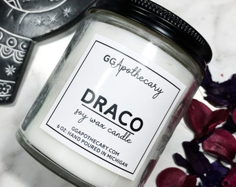 DRACO  • white sage and lavender scented candle  • highly scented, hand poured soy wax candle • 6 ounces