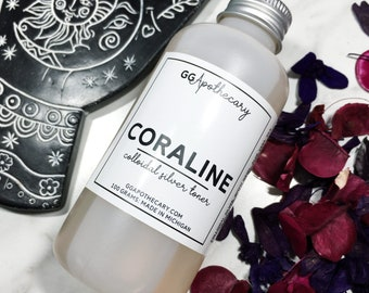 CORALINE TONER  • colloidal silver facial toner with silk and niacinimide, aloe vera •  organic, goth girl skin care