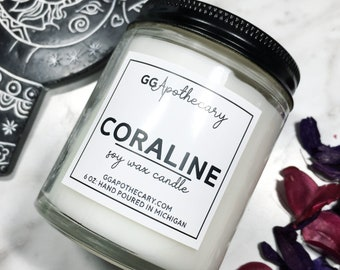 CORALINE  • blue raspberry slushie scented candle  • highly scented, hand poured soy wax candle • 6 ounces