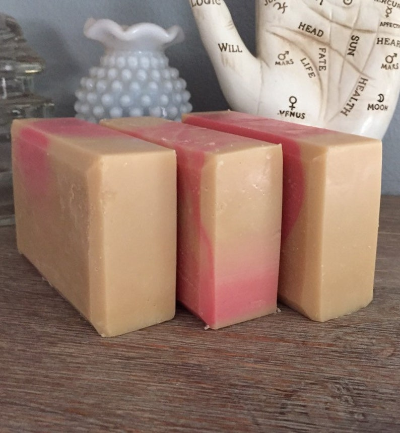 PINK GRAPEFRUIT  cold process complexion beer soap with pink image 0